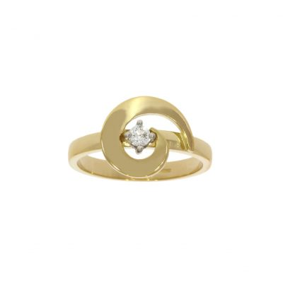 18ct yellow gold fashionable stylish swirl diamond cheap engagement ring