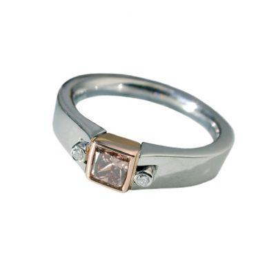 Platinum and rose gold diamond ring