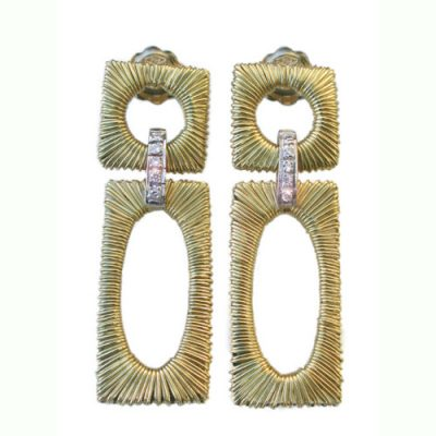 Gold strand diamond set drop earrings