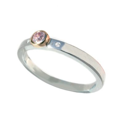 Platinum pink and white diamond ring