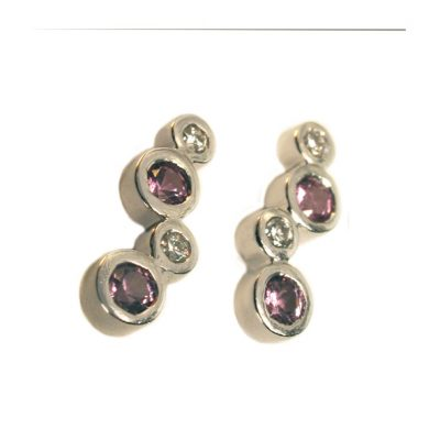 Gold pink sapphire and diamond studs
