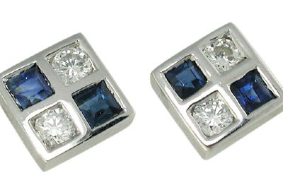 Gold sapphire and diamond stud earrings