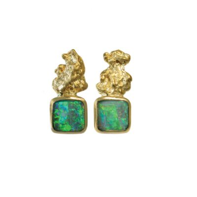 Opal nugget earrings