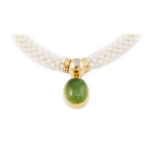 Prehnite and diamond necklace