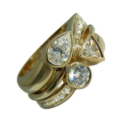 Mixed cut diamond dress ring