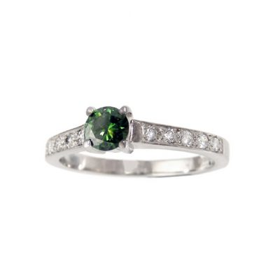 green diamond engagement ring diamonds in shoulders wylde