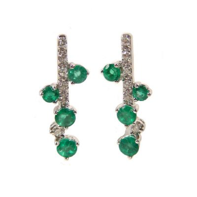 Gold emerald and diamond earrings