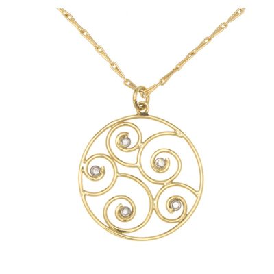 Diamond set swirl pendant and chain
