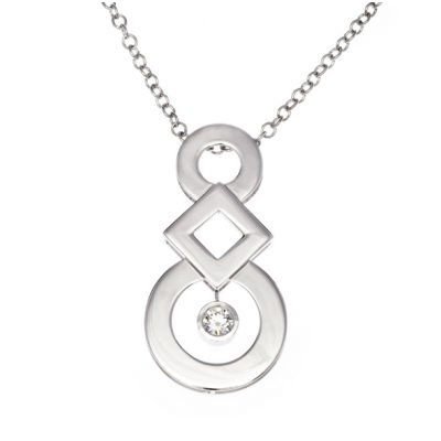 Circles and squares diamond set pendant with chain