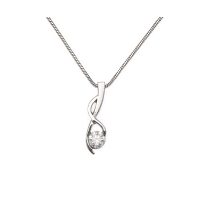 Single diamond twist pendant with chain