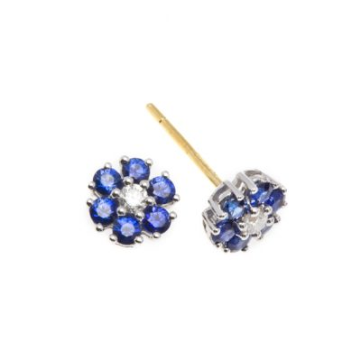 Gold sapphire and diamond cluster stud earrings