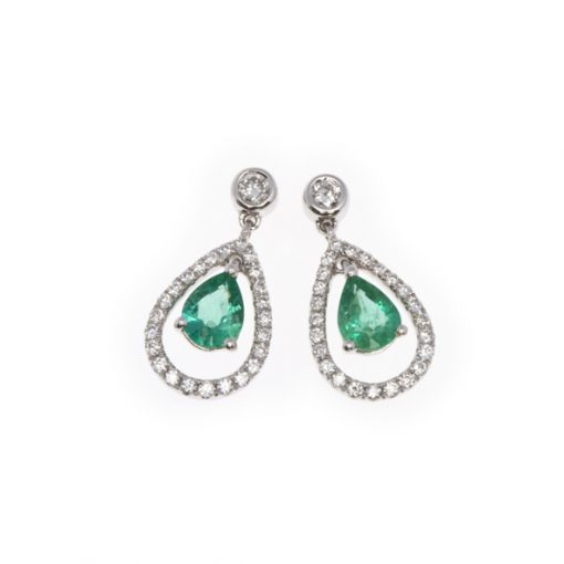 Gold emerald and diamond drop earrings