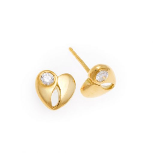 Single diamond heart shape earrings