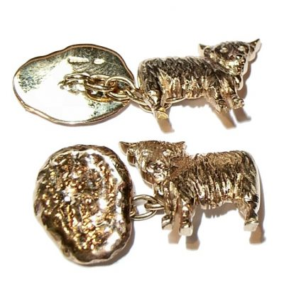 Gold cow design cufflinks