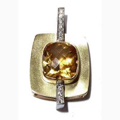 Gold citrine and diamond pendant