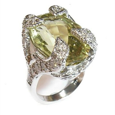 Quartz and diamond ring