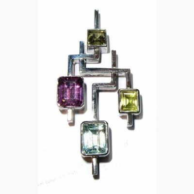White gold multi gemstone pendant