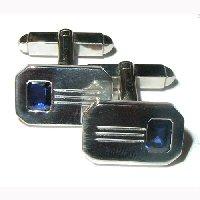 White gold sapphire set cufflinks