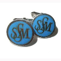 Silver and blue enamel cufflinks