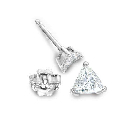 Gold trillion cut diamond studs