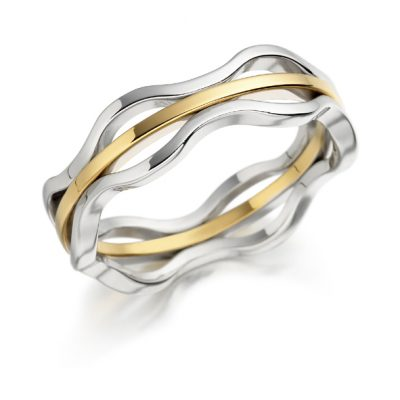 Gold wave wedding ring
