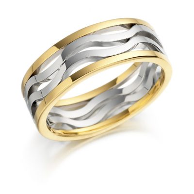 Gold double wave wedding ring