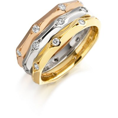 Gold diamond set 3 band ring
