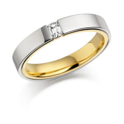 Gold single stone diamond ring