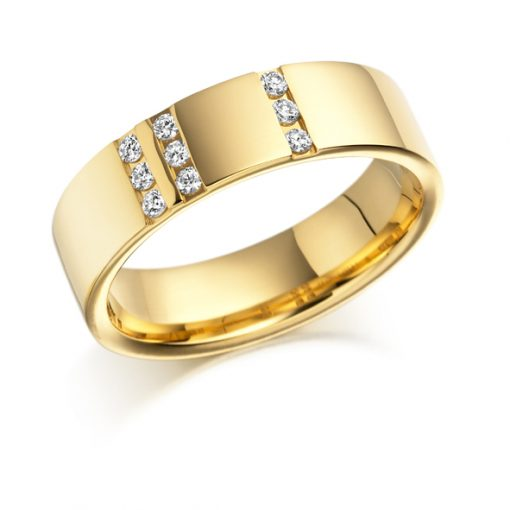 Gold diamond 9 stone chunky wedding ring