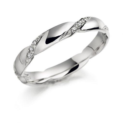 Gold diamond twist ring