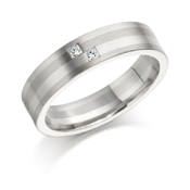 White gold inlayed two stone diamond ring