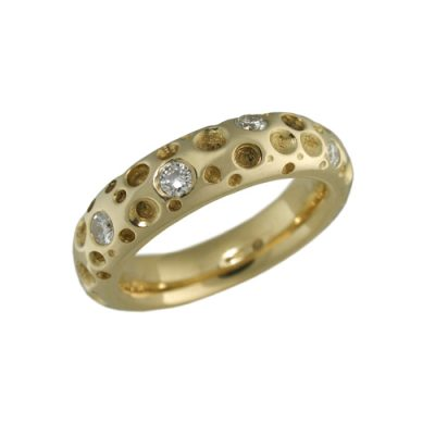 Gold diamond 9 stone wedding ring