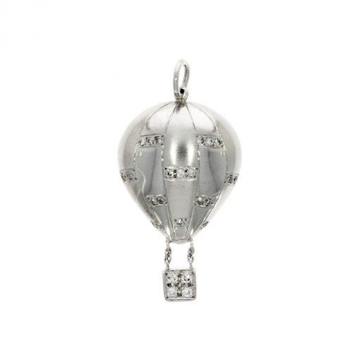 hot air balloon diamond pendant white gold solid bristol balloons