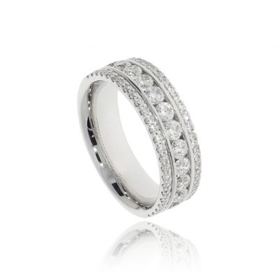 Fabulous designer super sparkle explosion diamond wedding band lgbtqia