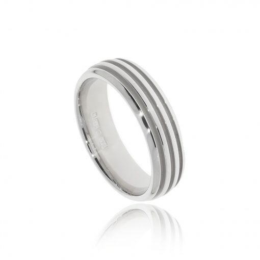Masculine groove engraved stripe wedding band