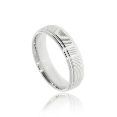 Modern and stylish designer mens white gold ridged wedding ring