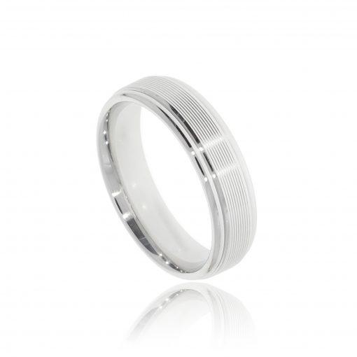 Modern and stylish designer mens white gold ridged wedding ring