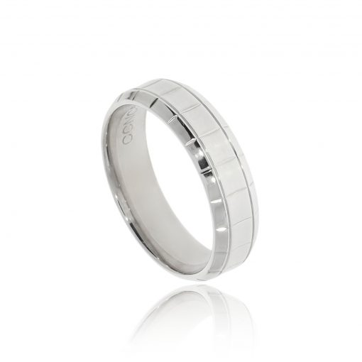 Palladium men's modern designer engraved unusual wedding ring