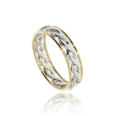 Celtic woven braid multicolour yellow white gold wedding ring
