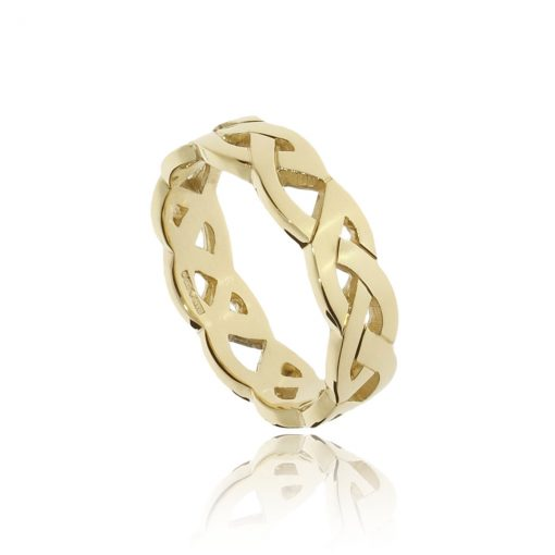 Woven irish and celtic 18ct yellow gold wedding ring