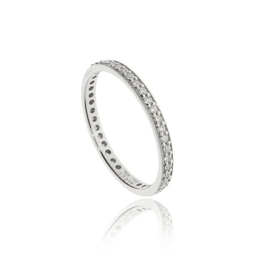 Sparkly grain set full eternity wedding band
