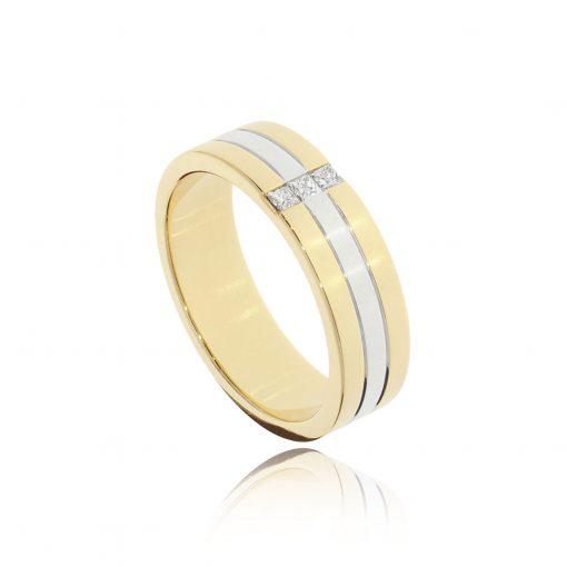 9ct white and yellow diamond men's wedding engagement ring