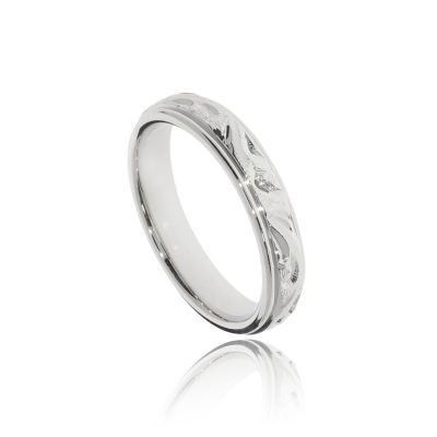 Ornately engraved unique and unusual wedding 9ct white gold band