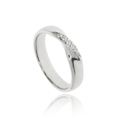 White gold twisted subtle diamond lgbtq wedding ring