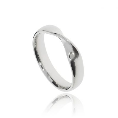 Twist fitted for small engagement ring wedding band ring