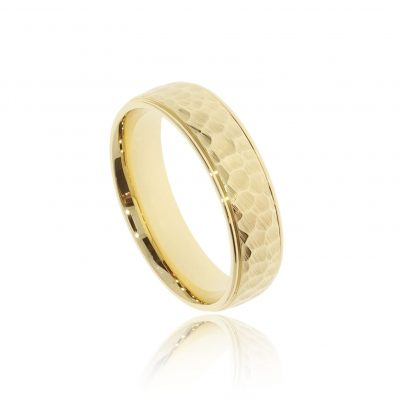 yellow gold hammered and brushed men's stylish wedding ring