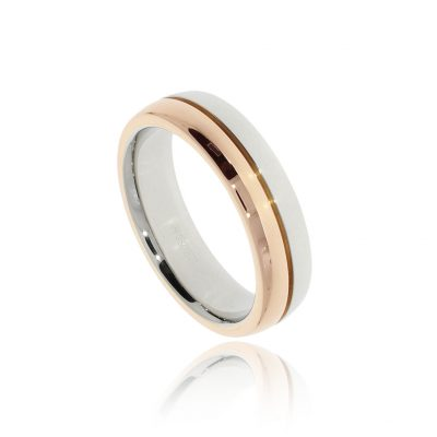 Mixed metal two tone rose white wedding ring for men