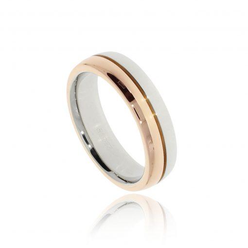 Mixed metal two tone rose white wedding ring for men