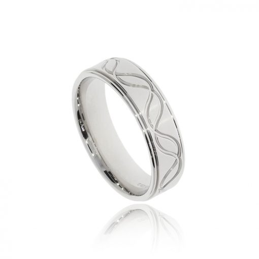Fluid wave engraved border white gold mens wedding ring