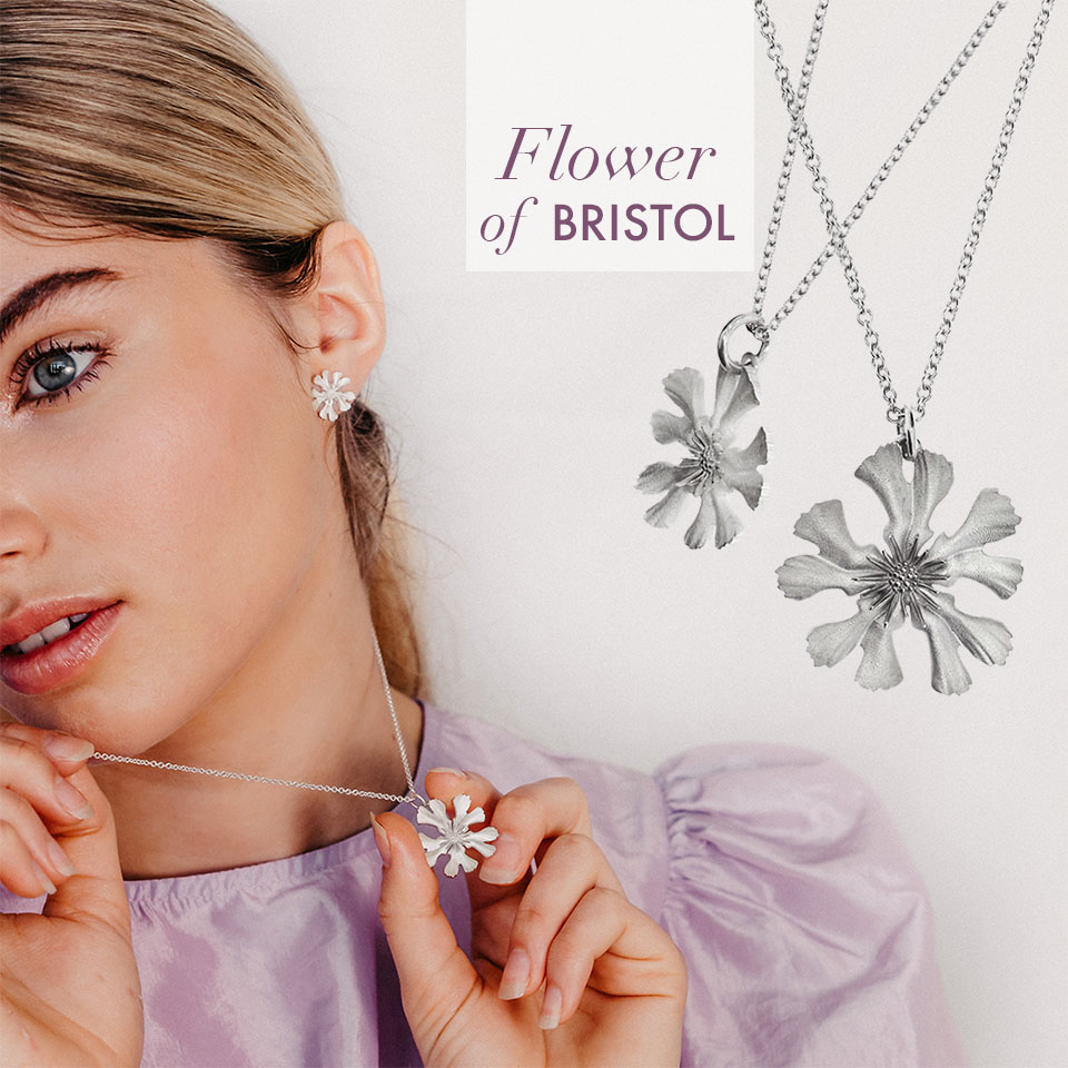 Sustainable silver bristol flower jewellery for charity and birthday